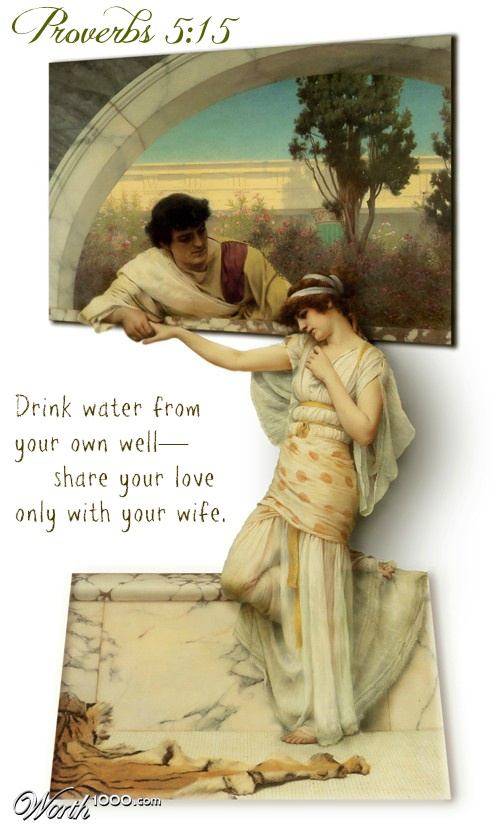 Proverbs 5:15 Drink water from your own well—      share your love only with your wife.