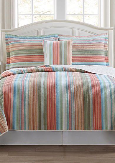 retro chic beach club stripe quilt collection belkcom