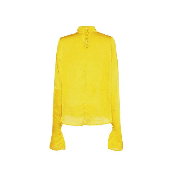 Wanda Nylon     Patti Long Sleeve Top (14.193.125 VND) ❤ liked on Polyvore featuring tops, long sleeve tops, nylon top, victorian top, yellow top and yellow long sleeve top
