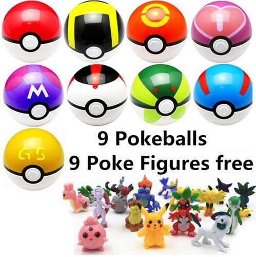 9pcs 7cm Pokeball  9pcs Pikechu ABS Figures Japanese Hot Anime Poke Ball Pokeball Toys Cosplay Collections Gifts