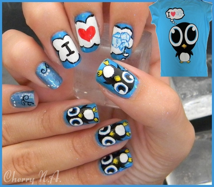 Penguin Nail Art Designs: 115 Best Images About Penguin Nails On Pinterest
