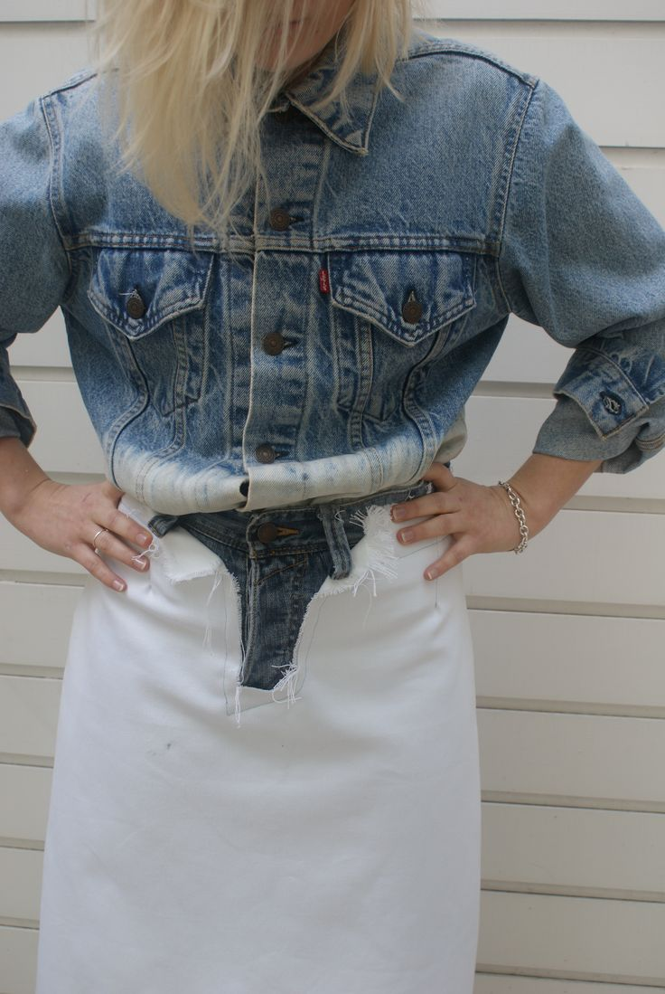 Frayed Language Custom denim recycled skirt. Levis custom jacket