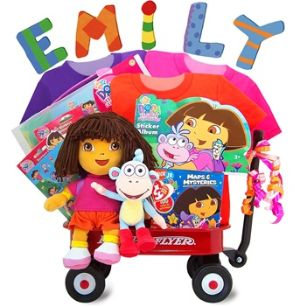 "Dora the Explorer Radio Flyer Gift Wagon is guaranteed to be treasured for many years to come!  Included are an original licensed 12"" Dora and original licensed 8"" Boots, her loyal sidekick, three colorful 100% cotton t-shirts in the famous Dora colors, a bundle of Dora the Explorer Sticker Kit, 100 Color & Carry Maps and activities with crayons, a large Dora the Explorer Travel Sticker Art Activity Kit in a briefcase and tons more! http://www.babygiftemporium.com/babygiftbaskets.html"