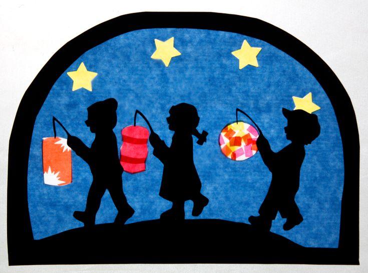 Fensterschmuck - Fensterbild Laternenkinder Transparentbild - ein Designerstück von Juliane-Buness bei DaWanda