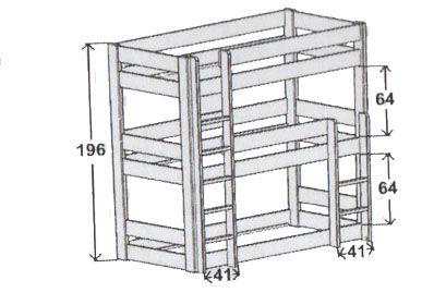 Lit superposé triple Dominique par mathy by Bols . Un lit superposé 3 places pour une chambre d'enfant petite. Tous nos lits superposés sur notre boutique en ligne et magasin Secret de Chambre.