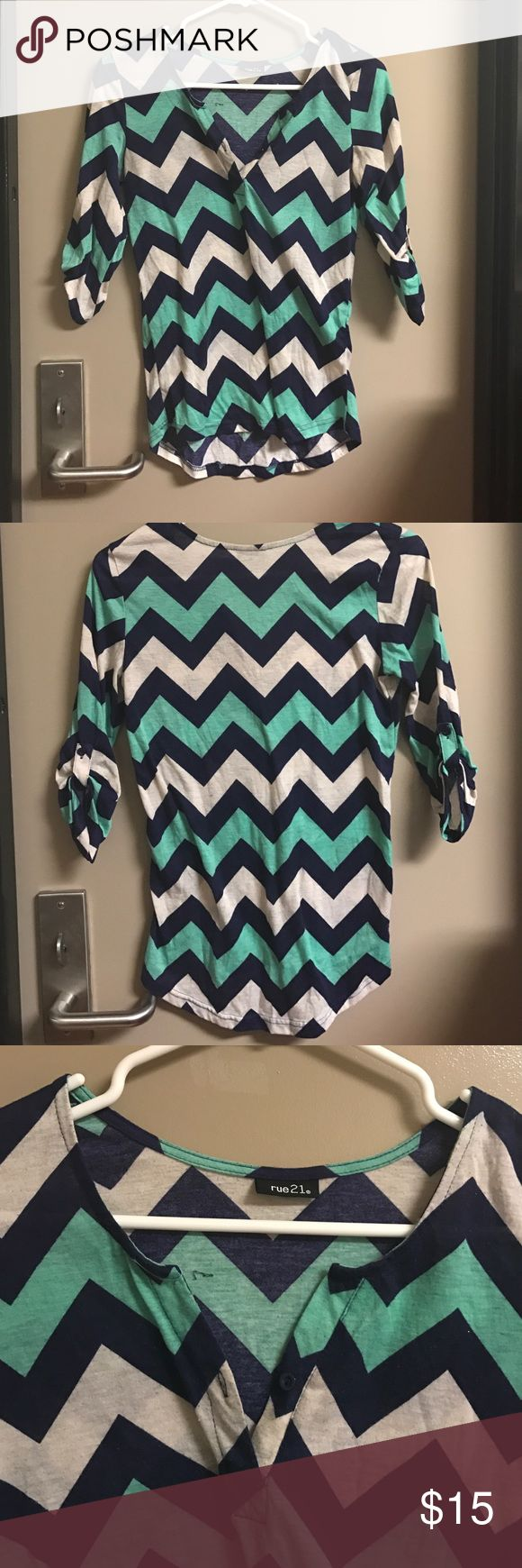 Blue and Cream Chevron Shirt Goes to about the elbow, button on front, no tags but a size medium, no rips/stains Rue21 Tops Blouses