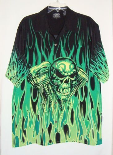 DRAGONFLY-Flames-V-Twin-Skull-Button-Front-Short-Sleeve-Mens-Shirt-Size-Lg