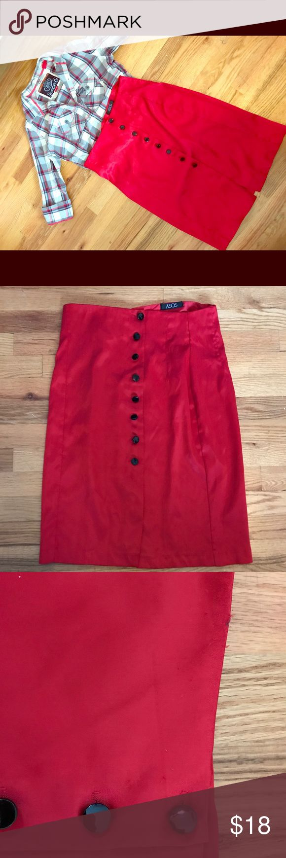 Asos Red Pencil Skirt Asos Red Pencil Skirt. Plastic button closures down the front. Great comfortable fit. Silk like material. Has been gently loved, some signs of pulling around top of skirt. ASOS Skirts Pencil