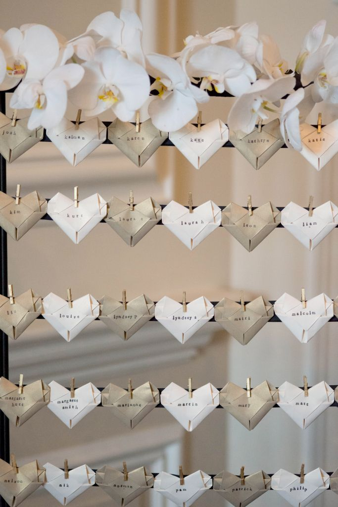 Simple touches make a huge difference at your reception! Like these beautiful folded heart name tags!