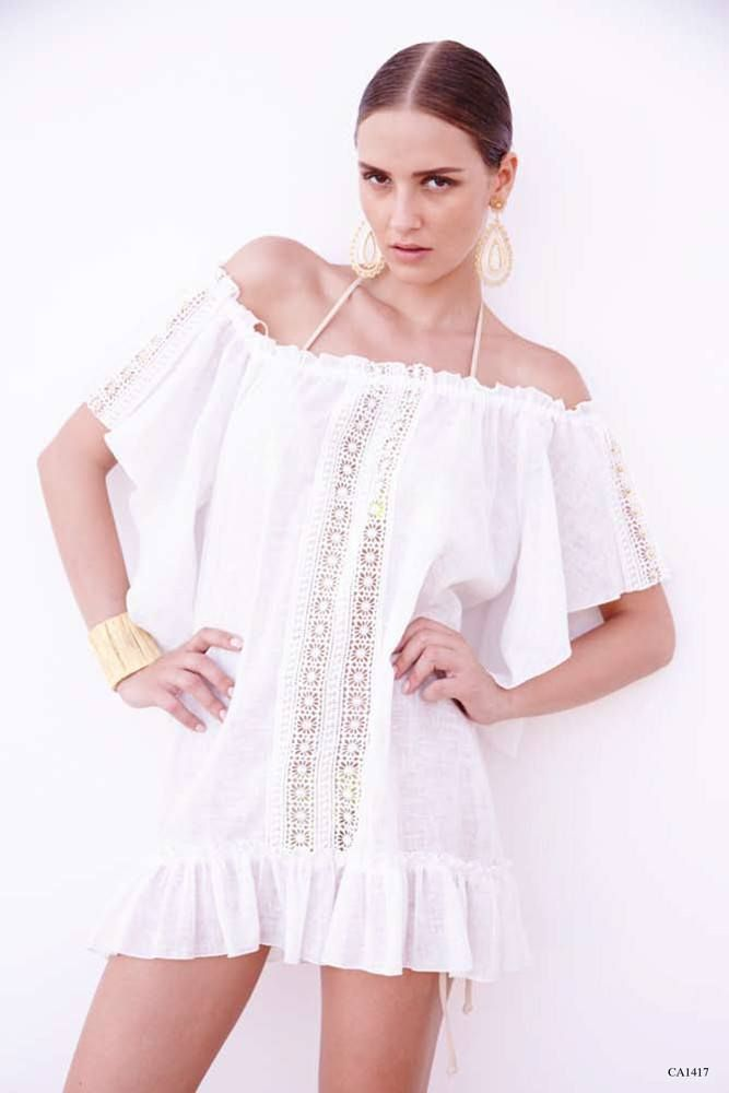 Off Shoulder Lace Ruffle Cover Up Dress