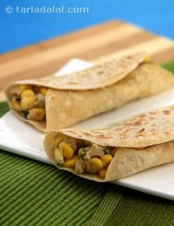 Potato and Corn Kathi Rolls, chapatis rolled with a chatpata filling of corn and potatoes is an all time favourite meal by itself.