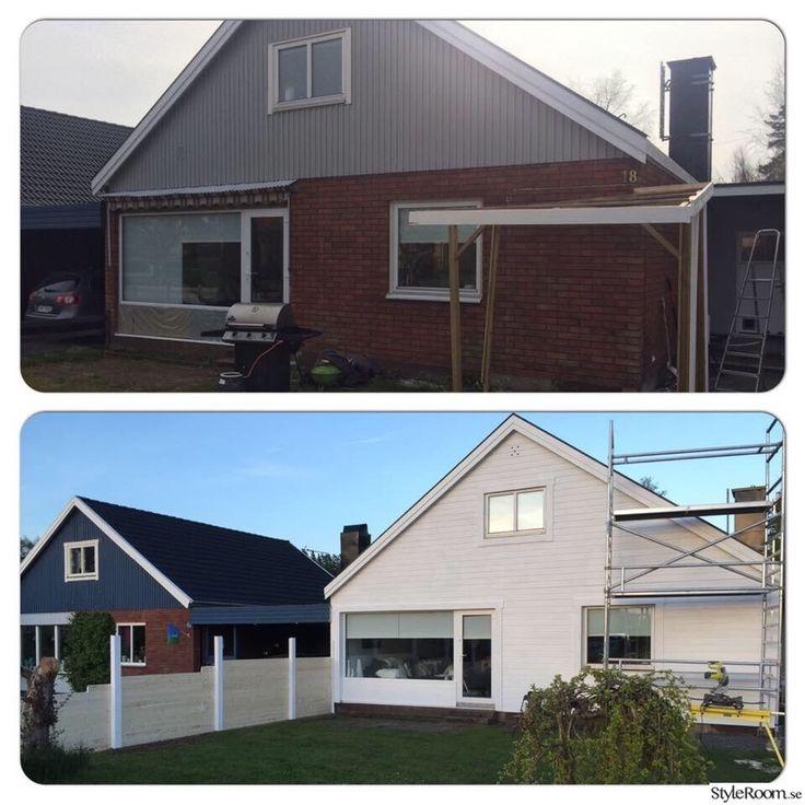 före & efter,fasad renovering,staket,plank