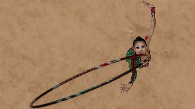 Deng Senyue of China competes in the Individual All-Around Rhythmic Gymnastics on Day 13 of the London 2012 Olympics Games at Wembley Arena