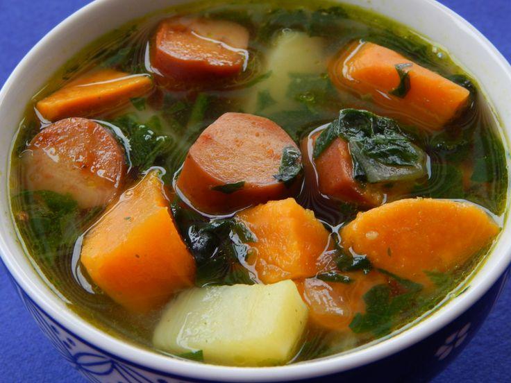 Portuguese sweet potato soup with vegan sausage