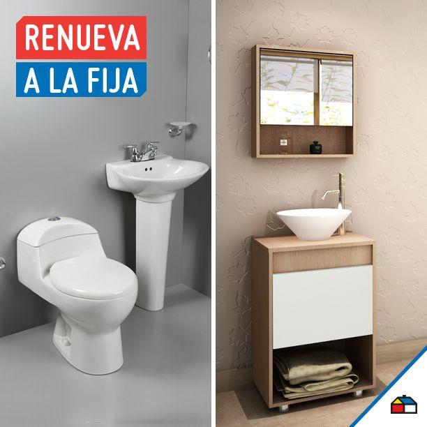 A veces la sencillez lo es todo, cuando remodeles tu baño selecciona el inodoro y lavamanos del mismo tono para generar armonía en tus espacios. El blanco da un ambiente de limpieza y amplitud.
