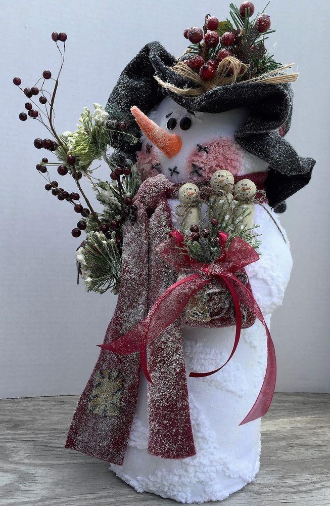 "Snowman Handmade ""Clara Belle"" Vintage Chenille Fabric Snowmen Burgundy Wine"