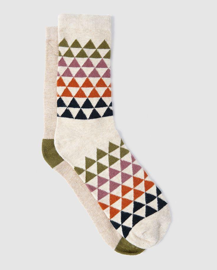 Pack de dos pares de calcetines de mujer lisos y con triángulos - por EASY WEAR :El Corte Inglés 2016: