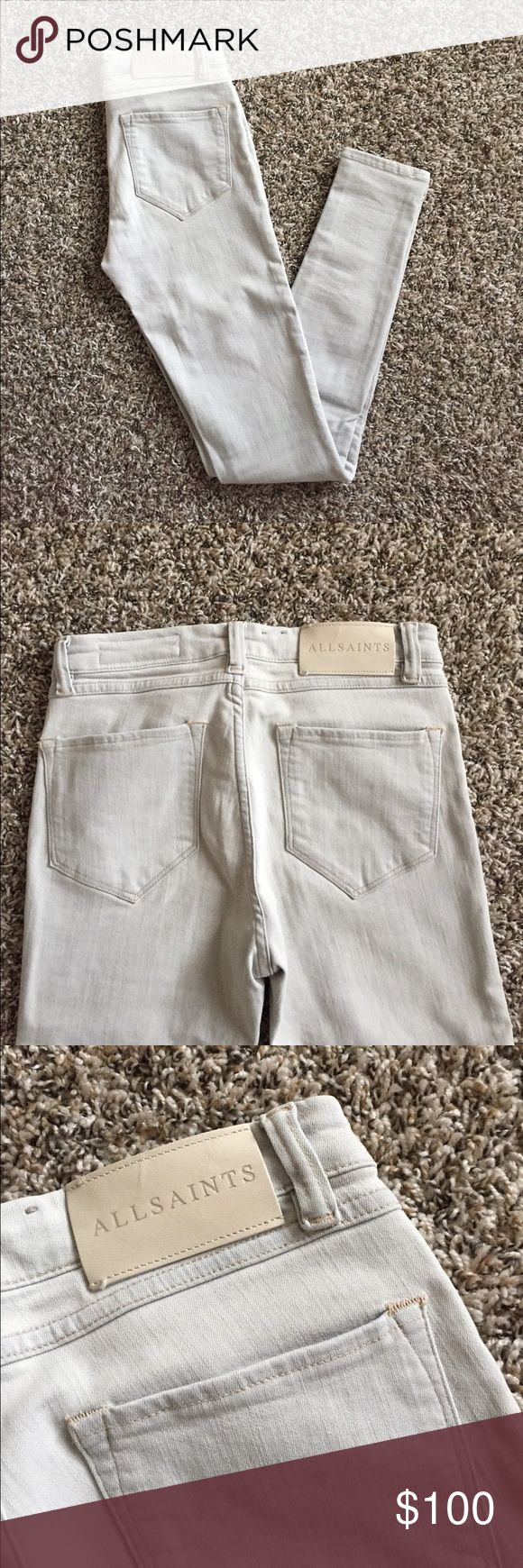 All Saints Grace Skinny Jeans SZ 26 Gorgeous light grey wash. Super stretchy and comfortable. 5-pocket style skinny with medium rise. Only worn once. In excellent condition. So flattering and one of the most amazing pairs I've come across from All Saints. A bit on the fence about selling but I never seem to get around to wearing them All Saints Jeans Skinny