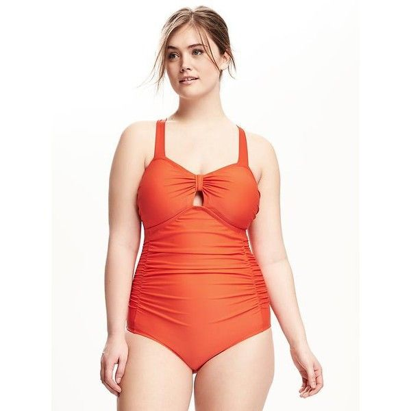 Old Navy Rouched Peek A Boo Plus Size One Piece ($50) ❤ liked on Polyvore featuring plus size women's fashion, plus size clothing, plus size swimwear, plus size one-piece swimsuits, good vibrations n, plus size, shirred one piece swimsuit, ruched one piece bathing suit, one piece bathing suits and plus size one piece swimsuit