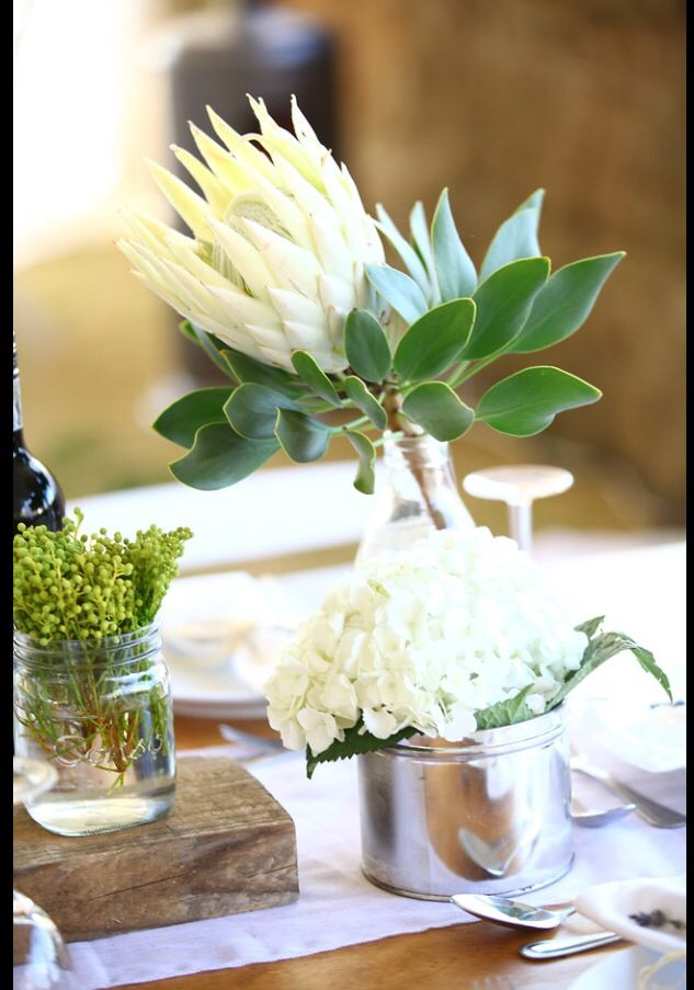 White proteas on the wedding tables added the perfect South African touches