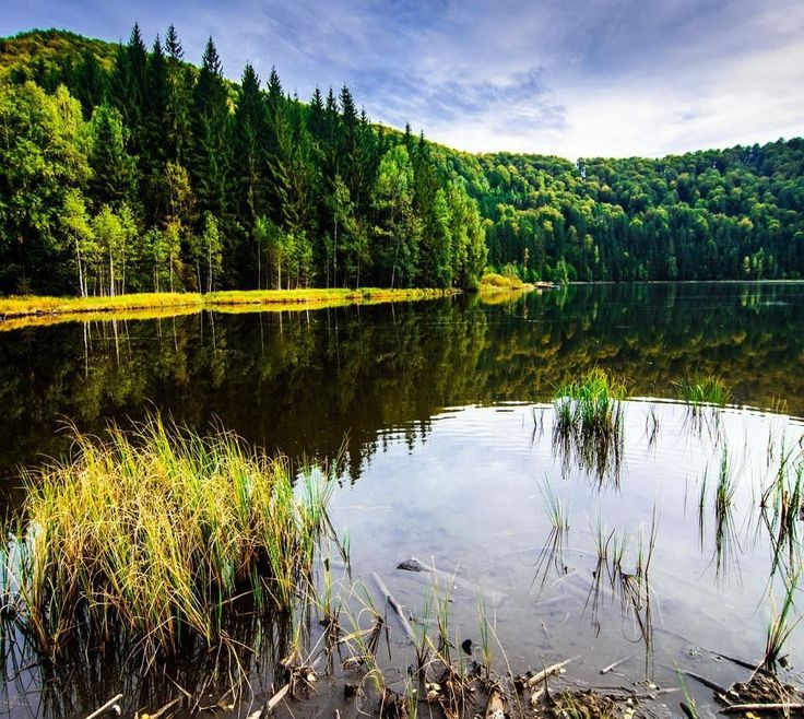 """Saint Anne Lake is the only Crater Lake in Romania located in the volcanic crater named """"Puciosul"""" of the Eastern Carpathians, near Tușnad in the Natural Reserve of Mohoș, Harghita County, Romania. 