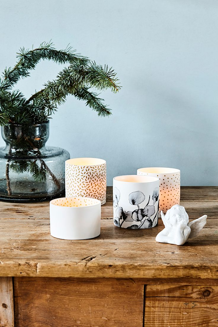 It's Christmas time! Decoration with candle holders in white porcelain // Søstrene Grene  Price per item from £2.19