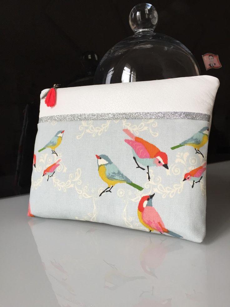 Pochette Mac Book air 13 pouces molletonnée en coton bio et ses oiseaux : Housses ordinateurs et tablettes par marie-besancon