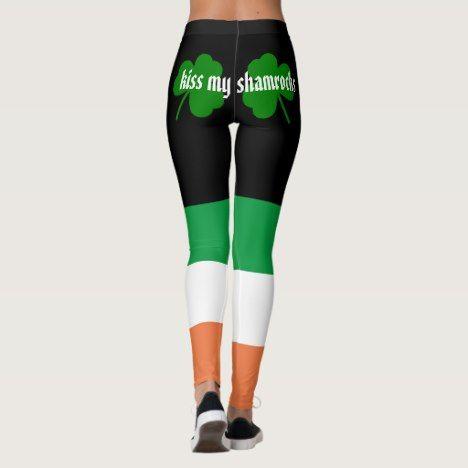 065bcb8630e59 Kiss my shamrocks St. Patrick's Day Leggings - #holiday #giftsforher  #giftsforhim #personalize #tradition #stpatricksday #shamrocks #leprechaun