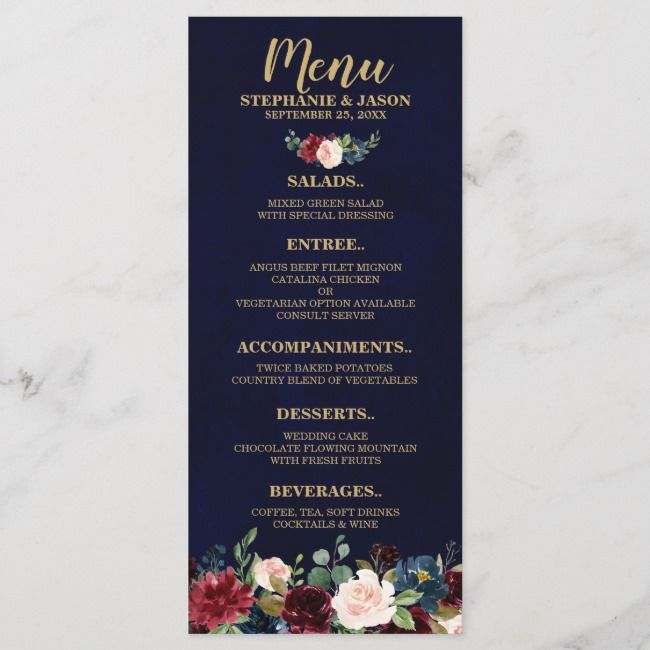 Burgundy Red Navy Floral Rustic Boho Wedding Menu | Zazzle.com