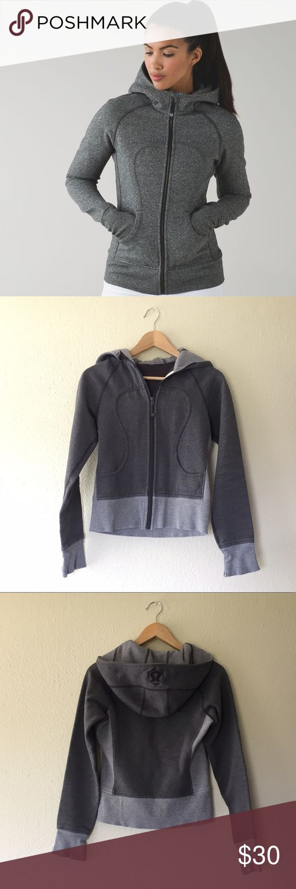 Lululemon Scuba Hoodie Super well loved but no less awesome grey scuba hoodie from Lululemon.   This sweater does show some signs of wear, especially around the sleeves (see picture). Priced to sell, but make an offer! lululemon athletica Tops Sweatshirts & Hoodies