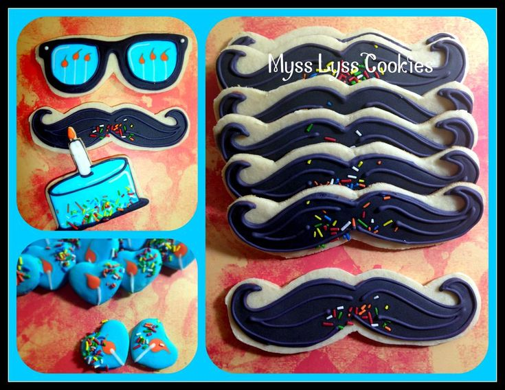 Hipster Birthday Moustache Cookies | Cookie Connection