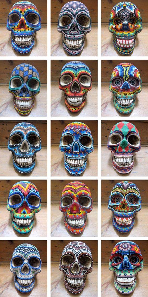 Huichol Skulls #Mexican folk art