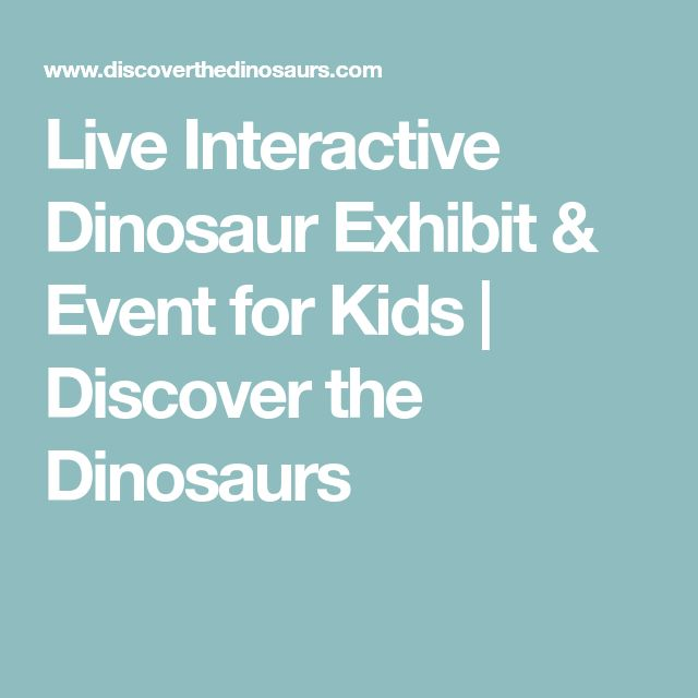 Live Interactive Dinosaur Exhibit & Event for Kids | Discover the Dinosaurs