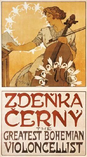 Alphonse Mucha - Plakat Zdenka Cerny - The Greatest Bohemian Violoncellist