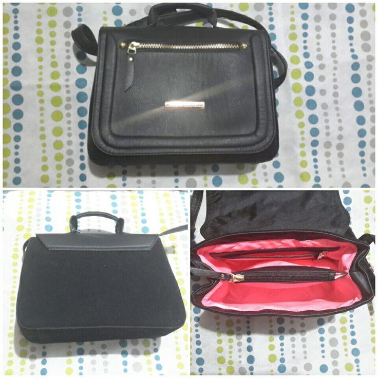 Bolso o cartera negro marca mercedes campuzano, hecho en colombia