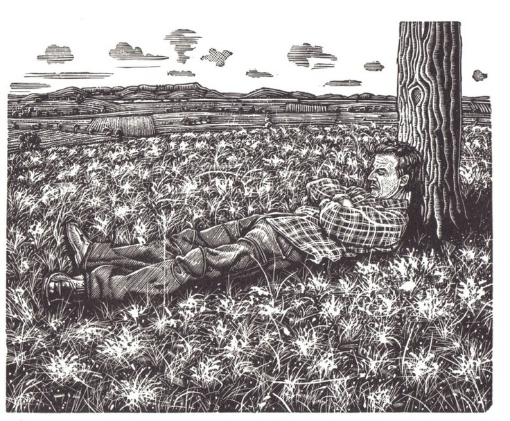 Lazy Bones, 2005  Artist: David Frazer  Medium: Wood engraving  Dimensions: 12 x 15 cm  Edition: 30
