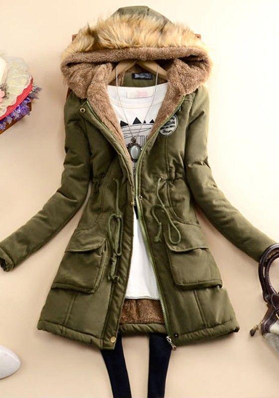 Army Green Plain Pockets Drawstring Zipper Long Sleeve Padded Coat