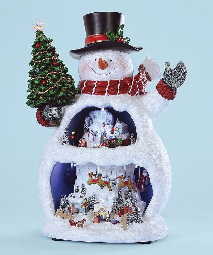 A fun and cheerful snowman music box will have your young Christmas guests hypnotized with delight. Watch Santa and his sleigh fly over the Christmas village as the trains goes round the upper village