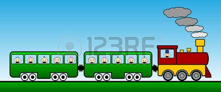train cartoon: Landscape with train. Vector illustration.