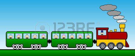 train cartoon: Landscape with train. Vector illustration.