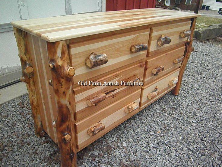 Aspen Log 6 Drawer Dresser Old Farm Amish Furniture