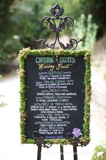 Wedding Chalkboard Food Menu. Like the moss decor around it. I have a big, ornate, cherry wood mirror that the mirror fell out of. We can paint it with chalkboard paint and spray paint an easel from EHS