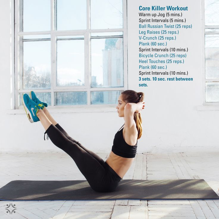 Killer 1-hr Core and Cardio. 3 sets of core, 1 set of cardio.