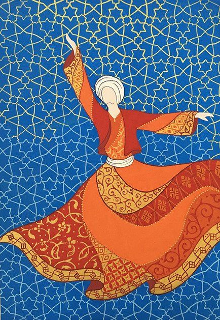 Original Painting Whirling Dervish Sufi Dance Rumi Miniature - AESMPM0045