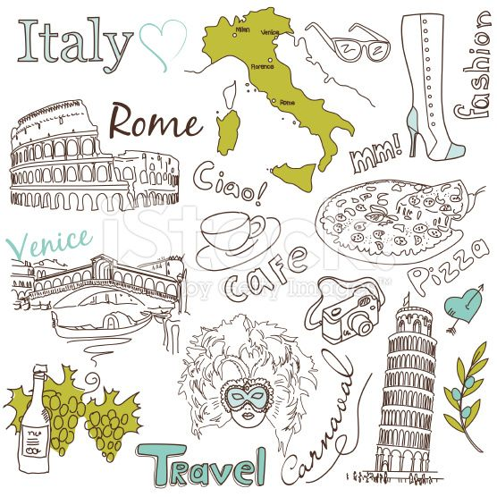 stock-illustration-28033500-sightseeing-in-italy-doodles-.jpg (556×556)