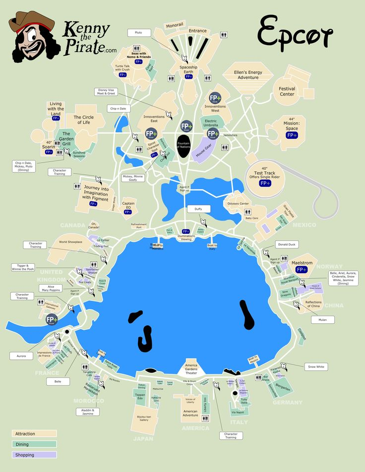 KennythePirate's Epcot Map including Fastpass Plus locations, rides, shows, characters, dining and shopping | KennythePirate's Unofficial Disney World Guide