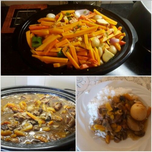 Lamb shanks and veg in slow cooker.  Before and after.
