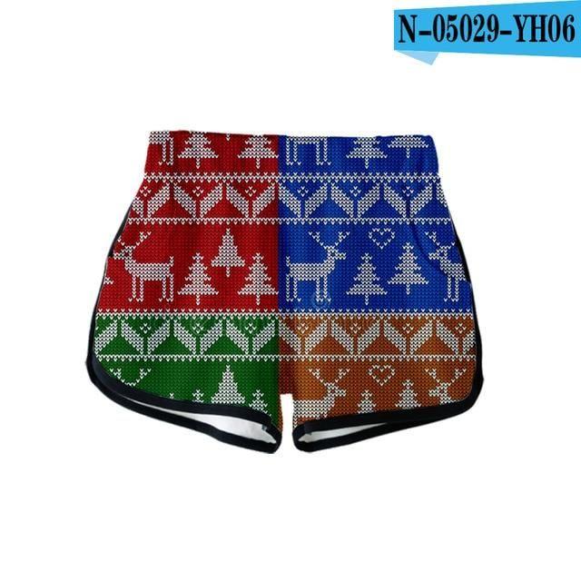 Weihnachten 3D Fashion Casual Shorts Beliebte elastische Taille Shorts Frauen Baumwolle 3D Exklusive Hip Hop Hot Summer Short S-XL   – Products
