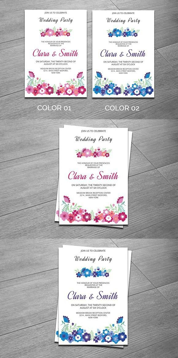 Wedding Party Invitation Template. Wedding Card Templates