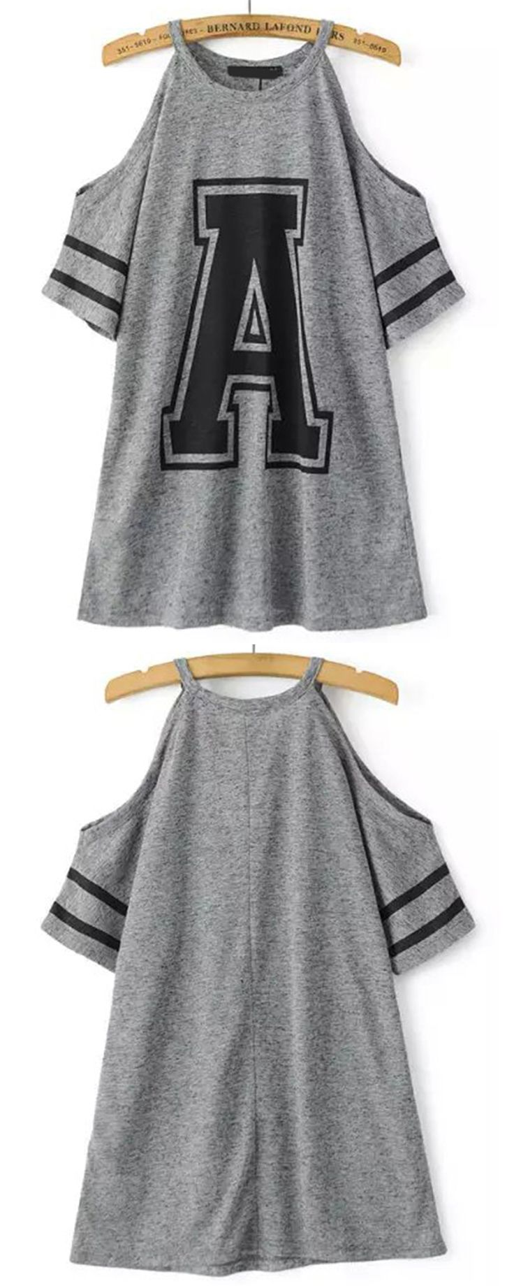 Grey Cold Shoulder A Print Loose T-Shirt